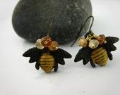 Hessonite Garnets Antiqued Patina Earrings / Bee Happy