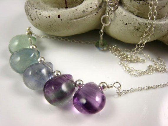 Gem Fluorite Briolettes Smooth Aqua Blue Green Lilac Lavender Purple Summer / Poseidon's Tears
