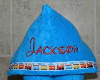 Personalized Dark Sky Blue Hooded Towel