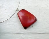 Unique red tagua charm chocker, ethical, sustainable, recycled jewelry, elegant, green wedding, eco friendly, green wedding