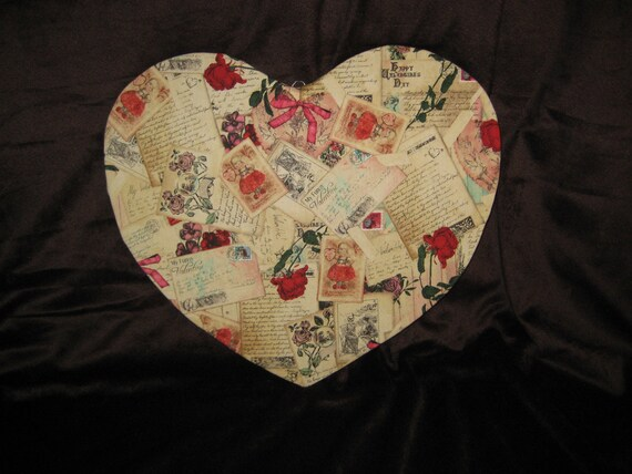 Vintage post card heart shaped cork board by allaboutyouboards for Heart shaped bulletin board