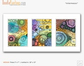 DoodlePainting ORIGINAL 5x7 Triptych Abstract Circles Watercolors in Mat: Intermezzo