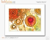 DoodlePainting ORIGINAL 11 x 14 Abstract Circles Landscape Watercolor in Mat: Ageless Beauty