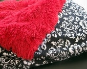 Kaufman Victorian Damask and Red Faux Fur Shag Minky Cuddle blanket (Small)