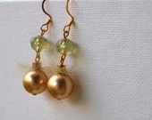 Gold and Green Tulle Layered Earrings