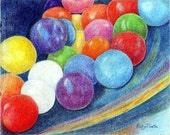 Gum Balls, Colorful Candy, Food, Children's Room -  FREE SHIPPING -  Original Colored Pencil Painting by ebsq Artist  Ricky Martin