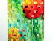 Tulip Weaving, Vivid Woven Art,  Collage, Unique  Abstract Art  -  FREE SHIPPING - Original Watercolor Painting by  ebsq Artist Ricky Martin