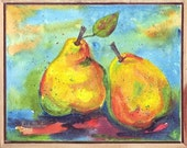 Pears, Fruit, Food, Snack, Kitchen, Dining, Contemporary - FREE SHIPPING - Original Framed Watercolor Painting by  ebsq Artist Ricky Martin
