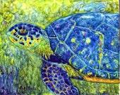 FREE SHIPPING - Sea Turtle, Ocean Life, Marine, Nautical -  Original Fine Art Watercolor Painting by ebsq Artist  Ricky Martin