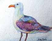 FREE SHIPPING Sea Gull   Original Watercolor Painting by Ricky Martin