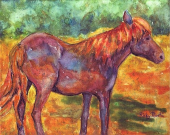 Pony,  Horse, Toddler, Nursery, Kids, Childrens  Room Art -  Original  Watercolor Painting by ebsq Artist Ricky Martin  FREE SHIPPING