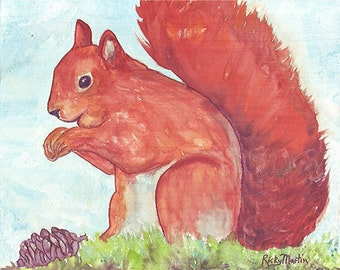 Red  Squirrel, Child, Girl, Boy, Nursery Decor - Original Watercolor Painting by ebsq Artist Ricky Martin FREE SHIPPING