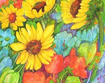 Sun Flower Medley, Bouquet, Kitchen, Dining Decor  -  Original Fine Art  Watercolor Painting  by ebsq Artist  Ricky Martin - FREE SHIPPING