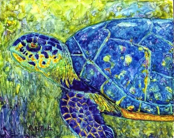 FREE SHIPPING - Sea Turtle, Ocean Life, Marine, Nautical -  Original Fine Art Watercolor Painting by ebsq Artist  Ricky Martin