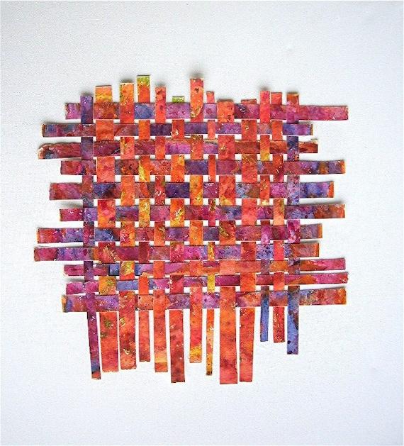 Weaving Collage On Gallery Wrap Canvas Original Fine Art