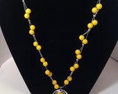 Vintage Yellow Beaded Necklace