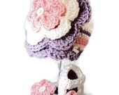 Infant Baby Hat Booties Pink Purple Knit Crochet 3 to 6 months Photo Prop