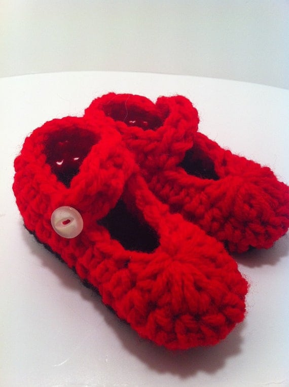 Baby Booties Girl Red Booties Mary Janes Infant Photo Prop