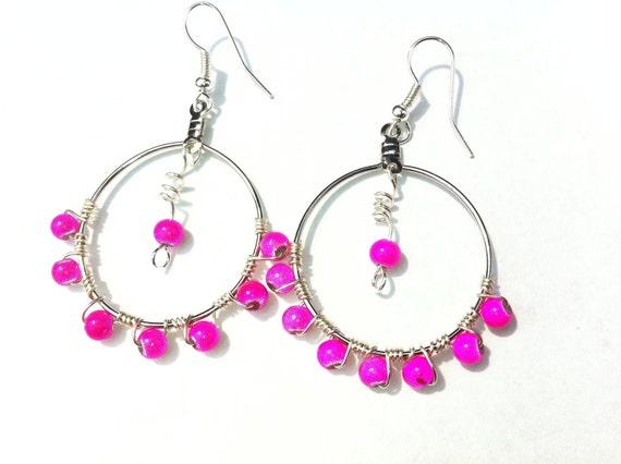 Pink Earrings Dangle Chandelier Hot Pink Sexy