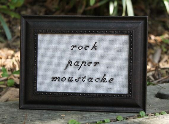 Rock Paper Moustache - cross stitch