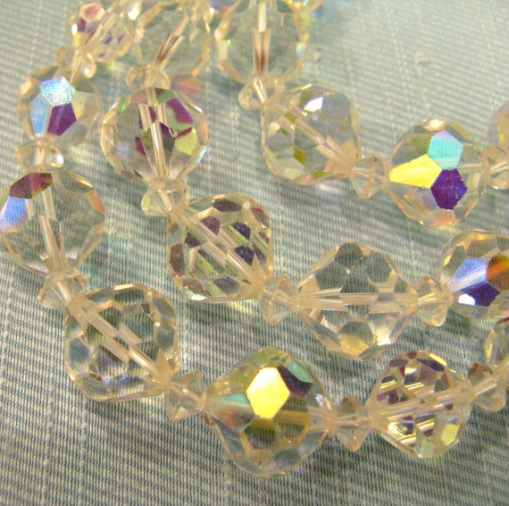 1960s AB CRYSTAL Necklace // Large Stones // Aurora Borealis