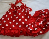 Christmas Baby Pillowcase Dress and ruffle bloomers Red & White Polka Dot Made to Order 0 to 2T  Treasury Listed Item