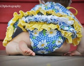 Baby Ruffle Bloomers Diaper Cover Blue with Daisy sizes up to 24 months Made To Order