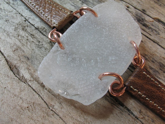 Beach Time - Surf Tumbled Sea Glass Bracelet - Frosted White & Chocolate Brown Strap