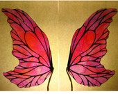 Costume Fairy Wings - Iridescent Translucent  - Small Pink - OOAK