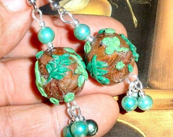 Pretty polymer clay leaf and vine earrings with vintage beads