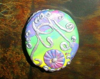 Polymer clay focal bead - lampwork inspired - rainbow pastel