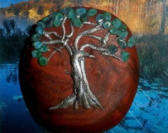 Tree of Life pendant or bead - polymer clay - faux mahogany