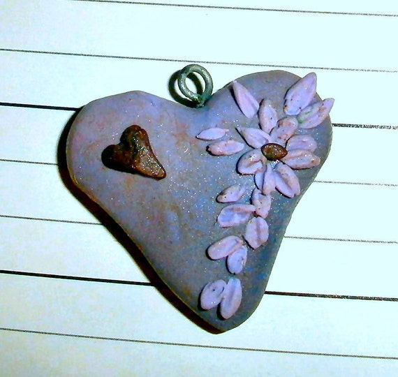 Polymer clay heart charm or pendant - Purple Passion