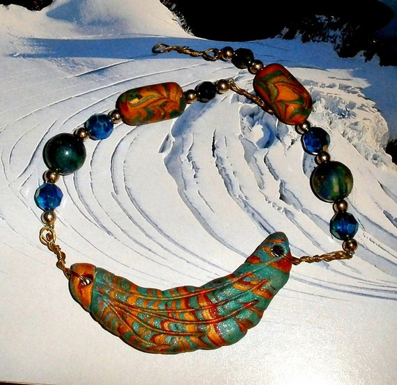 pendant bead set Gorgeous colors Crescent shaped  polymer clay