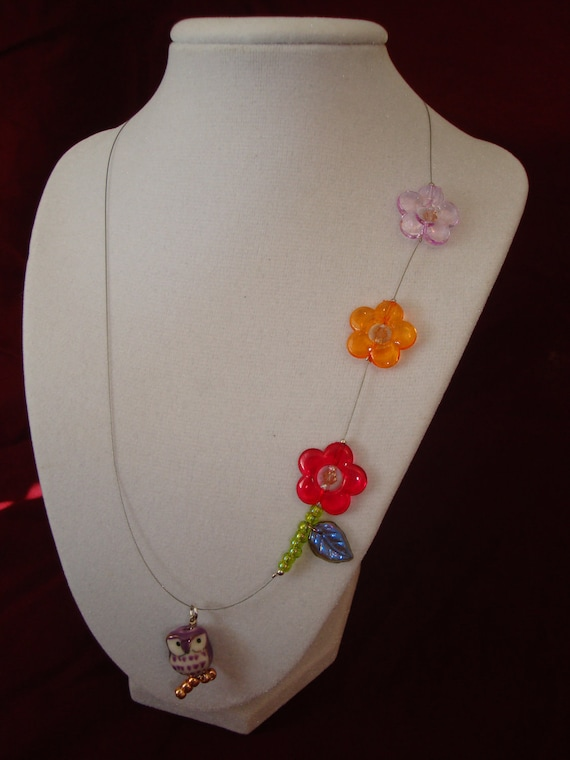 Owl Necklace - Owl & Flowers, acrylic and porcelain necklace