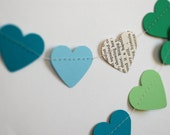 Custom Heart Paper Garland, Wedding Decoration, baby shower decoration, Vintage book, teal, green, light blue, mint green