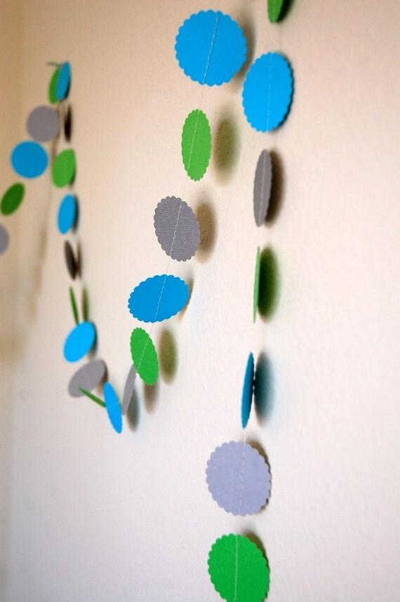 Paper Garland, Boy Baby Shower decoration, Boy Birthday Party, Green, Neon Blue, Silver (gray), party decoration, nursery decor, 10 feet