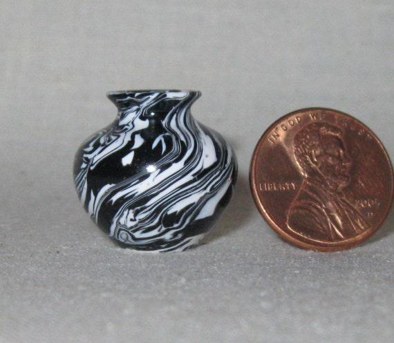 Black & White Turned Miniature Polymer Clay Vase