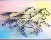 "Horse Art Card for all occasions from my original watercolor, ""Racing Colors"""