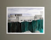 Original watercolor painting. Landscape and architecture. Large. Green and gray.