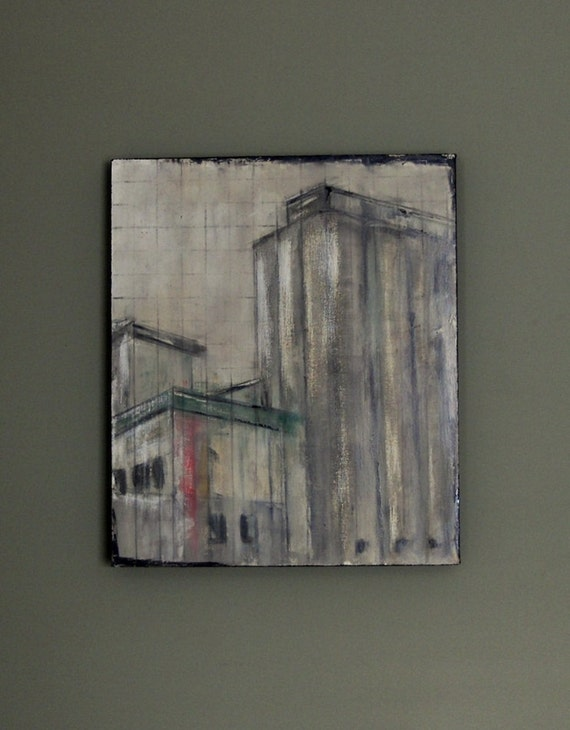 Original painting. Acrylic with graphite line. Architectural. Impressionist. Pale grays and pastel colors.