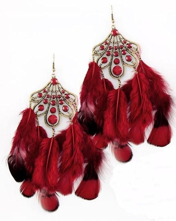Blood Red Feathers Earrings