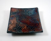 Metallic Tray Raku Pottery, FREE SHIPPING