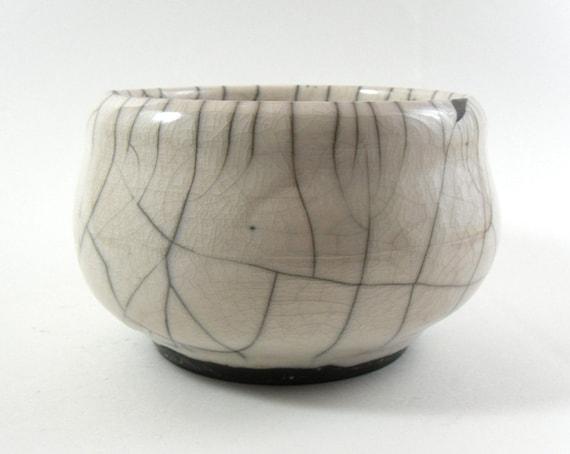 White Ceramic Bowl, Raku Pottery