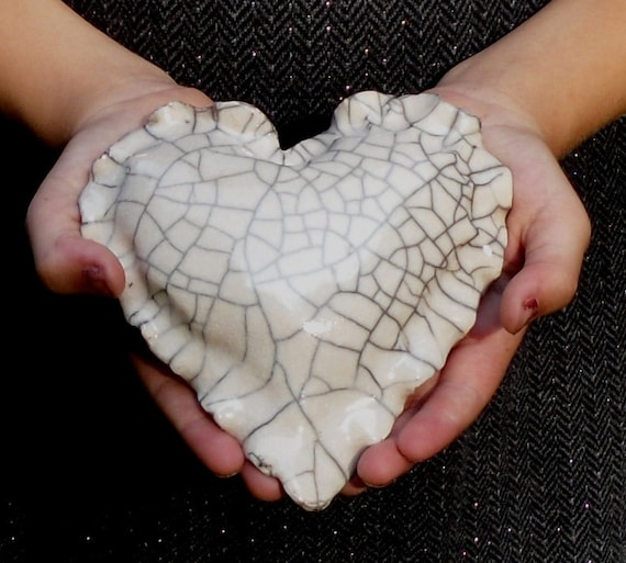 Valentine Heart Ceramic, White Crackle RAKU Pottery, FREE SHIPPING
