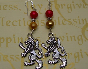 Harry Potter ( Gryffindor House ) Earrings BIG with Gryfrindor Colors Necklace