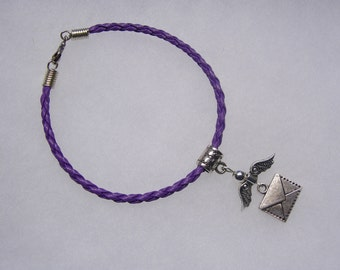 Harry Potter Inspired Flying Howler Letter on Braided Leather Bracelet