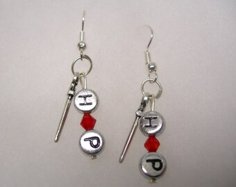 Harry Potter  (Magic Wand)  Earrings with dangling HP Letters and Red Crystal