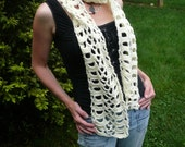 Buttercream Lace Scarf--crochet scarf in cream, off-white, pale yellow