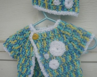 Baby Sweater with hat, set, crochet in blue, teal, yellow and white